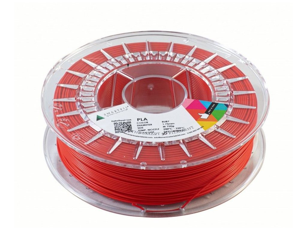 PLA filament rubínově červený 1,75 mm Smartfil 1kg