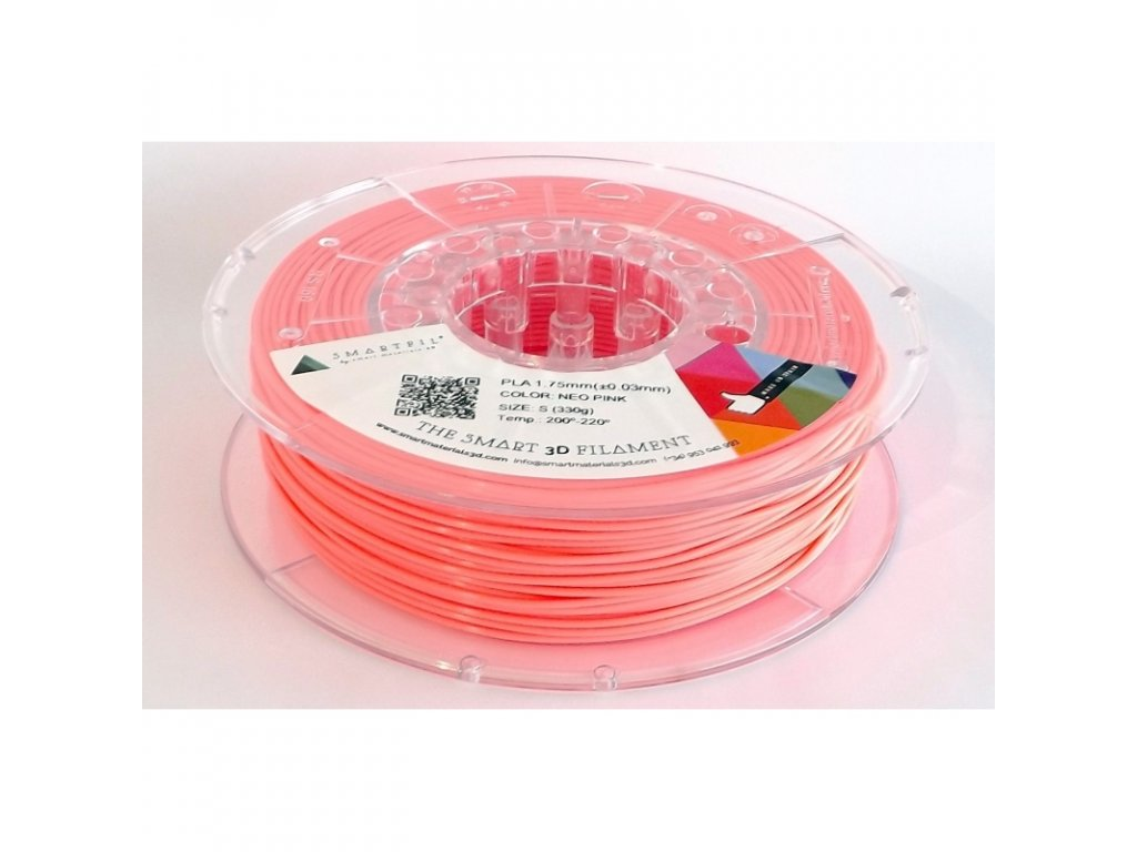 PLA filament neonově růžový 1,75 mm Smartfil 330g Cívka: 0,33 kg