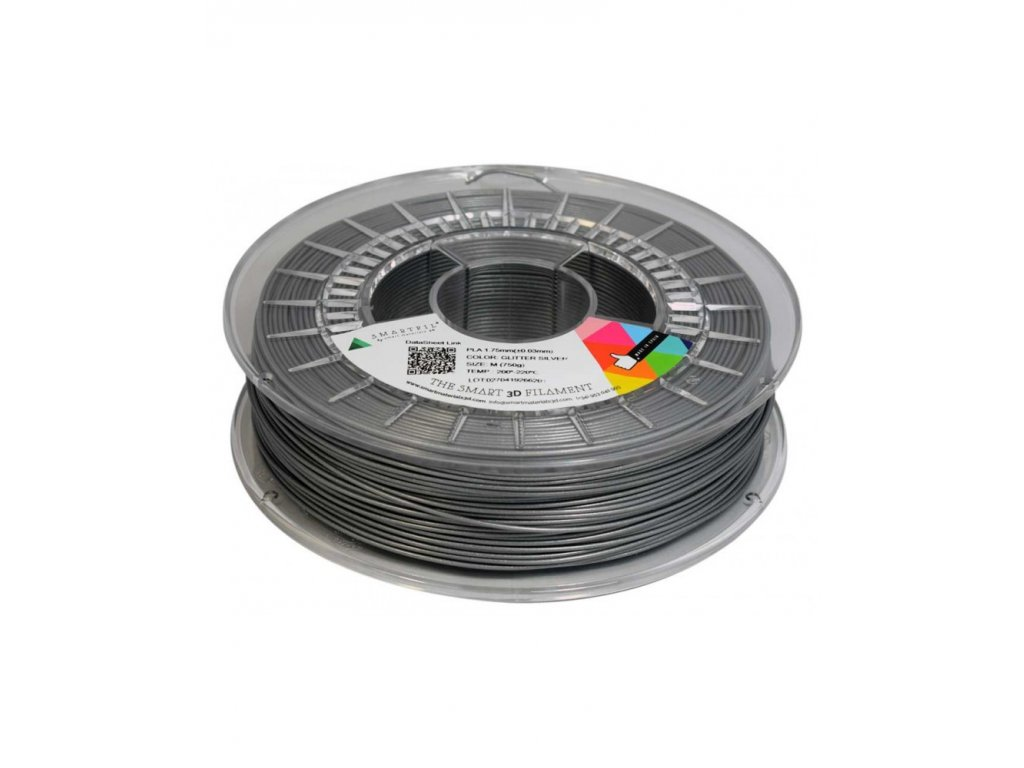 PLA filament stříbrný s třpytkami 1,75 mm Smartfil 750g