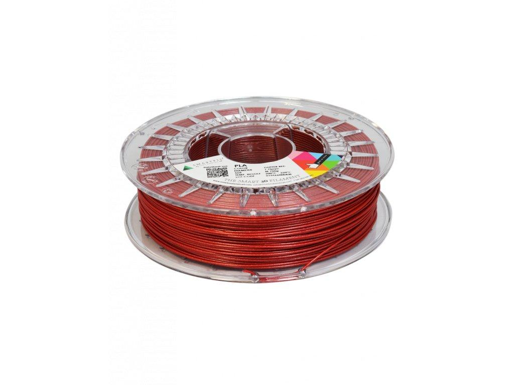 PLA filament třpytivý červený glitter red 1,75 mm Smartfil 750g