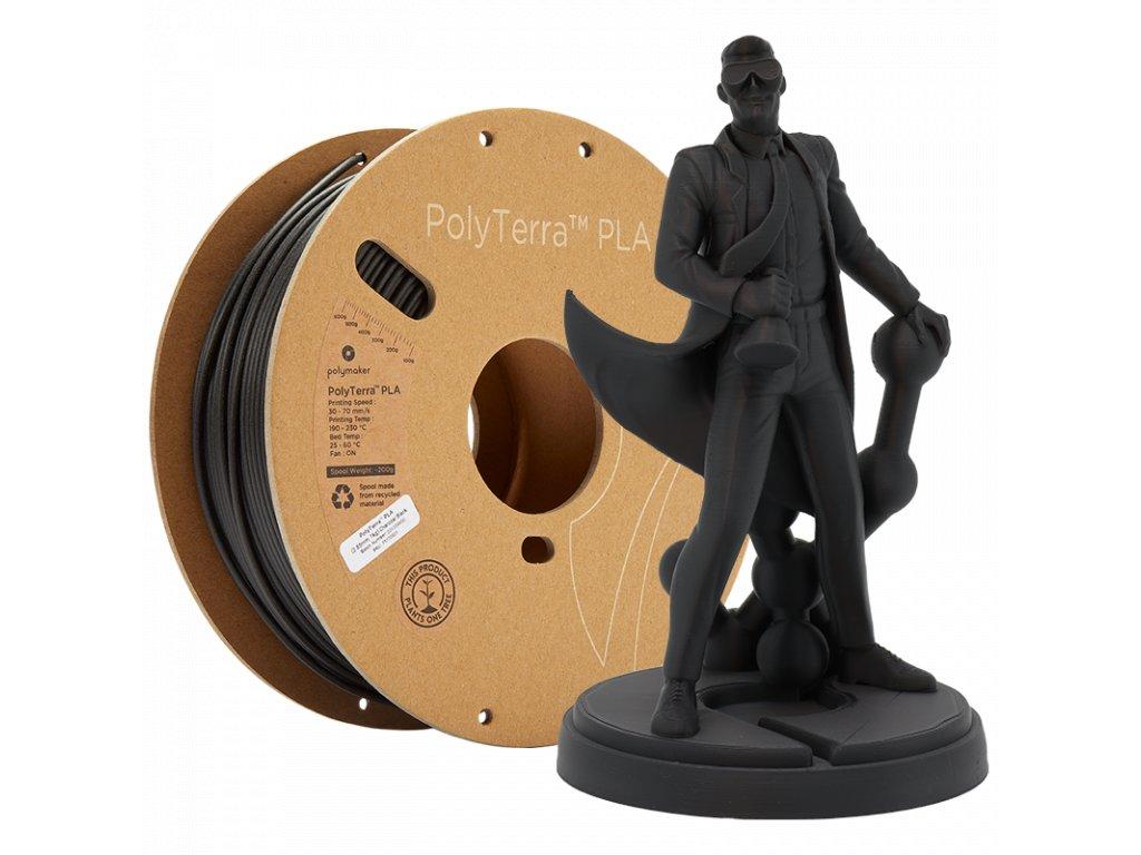 PLA PolyTerra filament uhlově černý 1,75mm Polymaker 1000 g