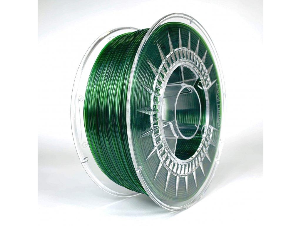 PET-G filament 1,75 mm zelený transparentní green transparent Devil Design 1 kg