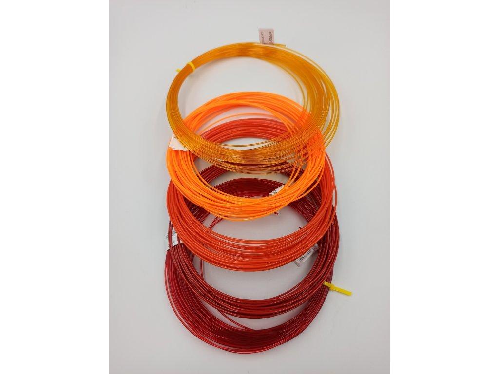 PETG vzorník 5 barev odstínů červeno oranžové Devil Design