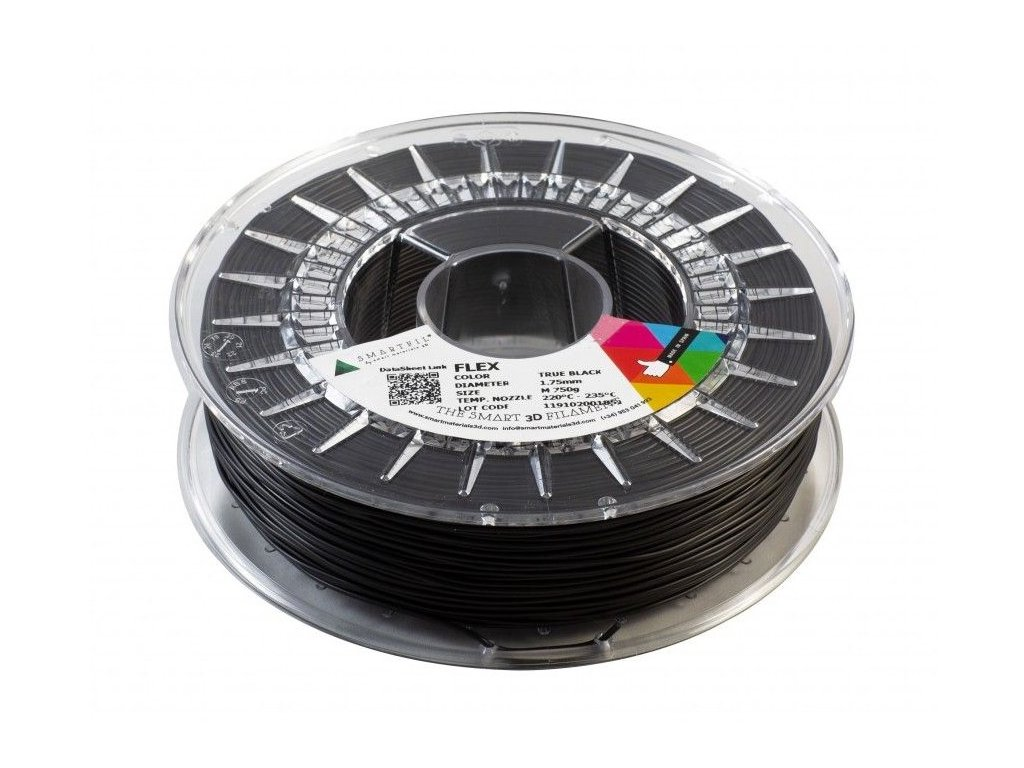 FLEX filament černý 1,75 mm Smartfil Cívka: 0,33 kg