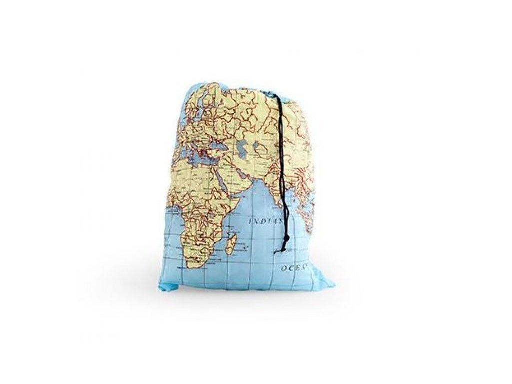 Cestovní pytel s mapou světa