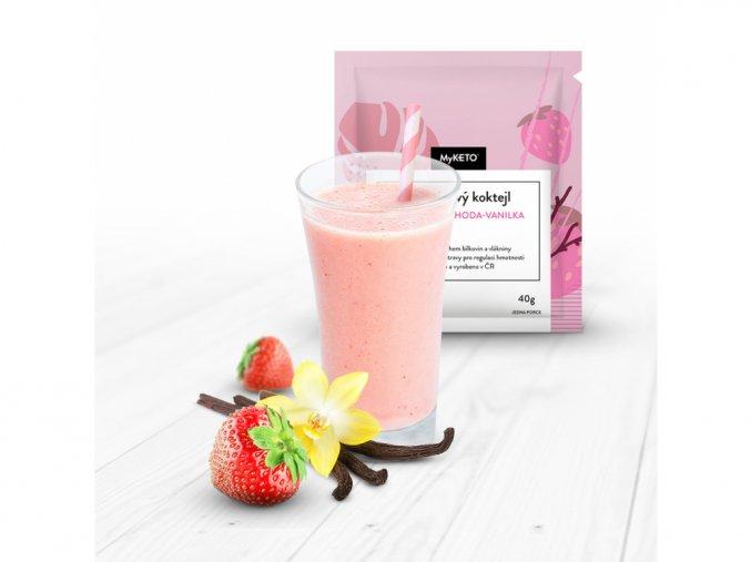 MyKETO Proteínový koktail s príchuťou jahoda-vanilka 1 porcia 40g