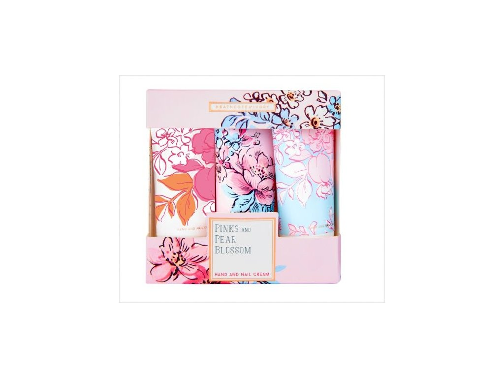 45146 1 heathcote ivory sada kremu na ruce a nehty pinks pear blossom 3x30ml