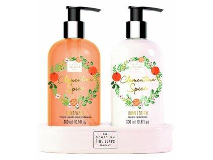 46076 scottish fine soaps darkova sada clementine spice vanocni mandarinka 2x300ml