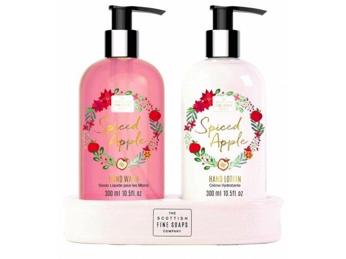 46079 scottish fine soaps darkova sada spiced apple tekute mydlo mleko na ruce 2x300ml