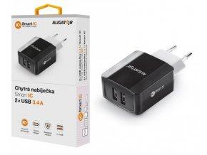Chytrá síťová nabíječka ALIGATOR 3.4A, 2xUSB, smart IC, černá