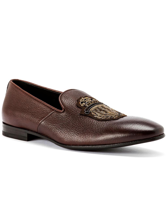O18S MSB0267 BLE010N 44 loafers crest dark brown billionaire mokasíny pánske hnedé