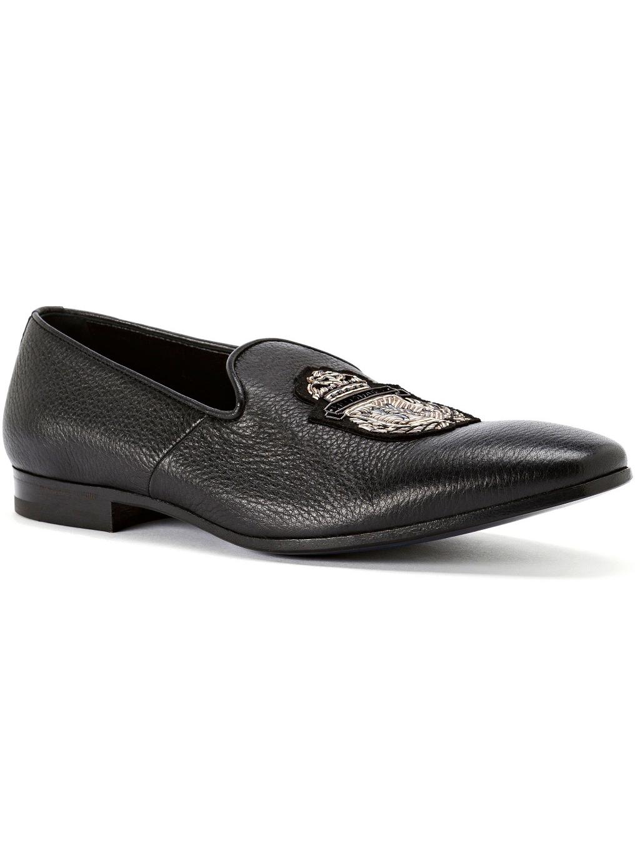 O18S MSB0267 BLE010N 0293 loafers crest billionaire black pánske mokasíny čierne zlaté