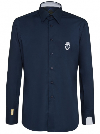 O18C MRP0745 BTE002N 01 shirt silver cut milano crest billionaire dark blue pánska košeľa modrá