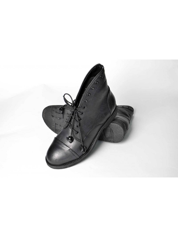 eebd0a26f3 ... francesco milano dámske čižmy topánky eko koža čierne šnúrovacie  zipsovacie s kamienkami 1 ...