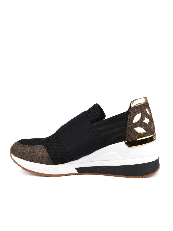 ad460fc382514 ... michael kors felix trainer mesh 43T8FXFS6D blk brown gold dámske  topánky tenisky čierne hnedé zlaté ...