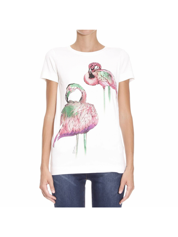 JUST CAVALLI Flamingos White tričko
