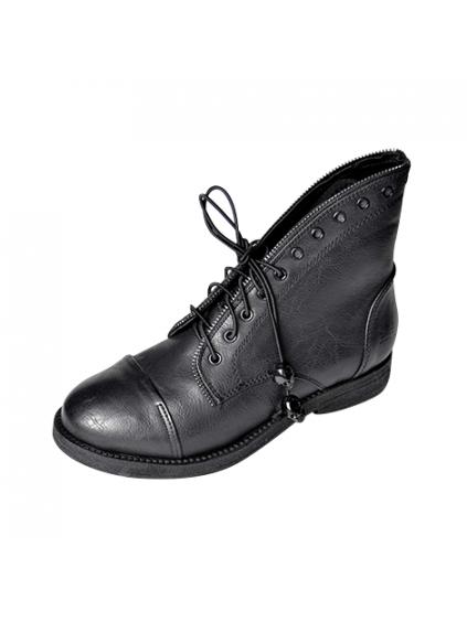francesco milano dámske čižmy topánky eko koža čierne šnúrovacie zipsovacie s kamienkami