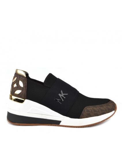 963b0396e957 michael kors felix trainer mesh 43T8FXFS6D blk brown gold dámske topánky  tenisky čierne hnedé zlaté (