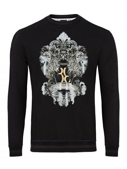 O18C MJO0449 BTE011N 02 black sweatshirt LS lion billionaire pánska mikina čierna