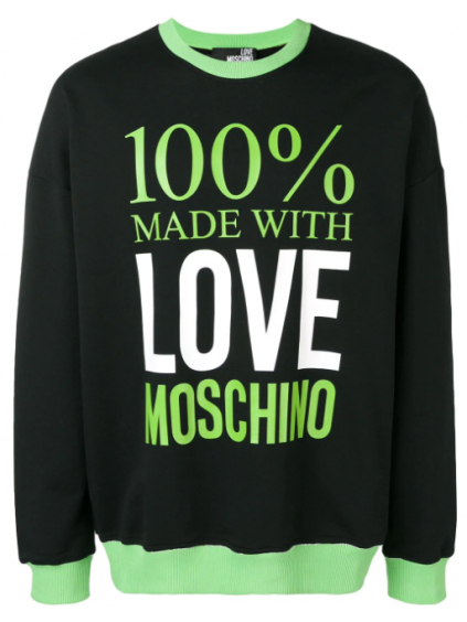 love moschino love panska mikina cierna zelena (1)