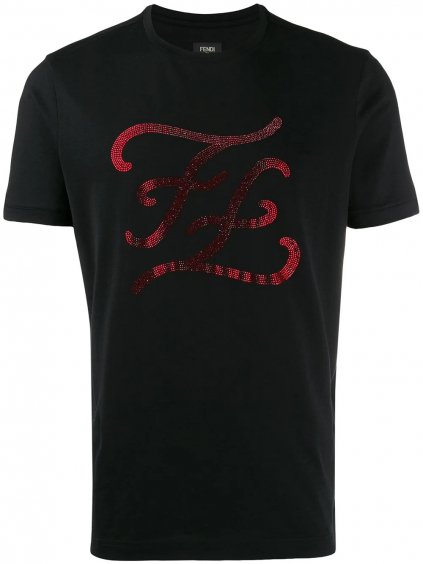 FENDI Karligraphy Strass tričko (4)