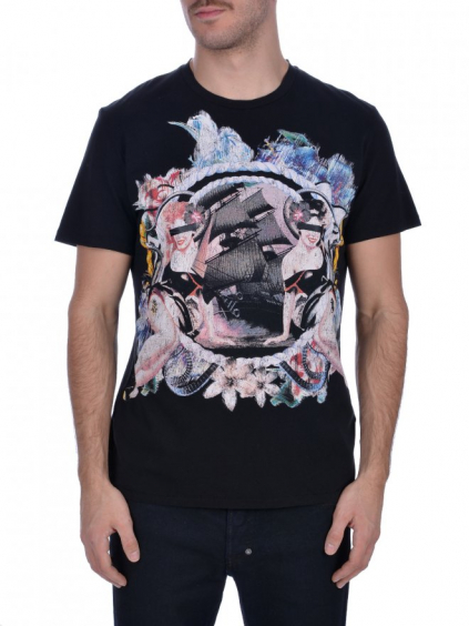 JUST CAVALLI Logo Printed Black tričko