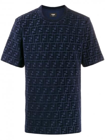 fendi cobalto t shirt allover f FENDI Cobalto pánske tričkof chenille panske tricko tmavomodre (1)