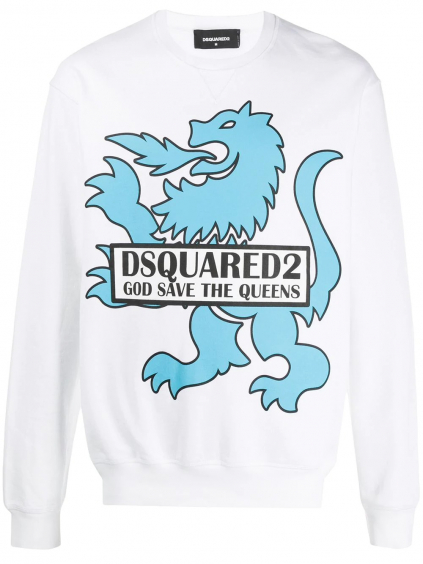 dsquared2 god save the queens white mikina