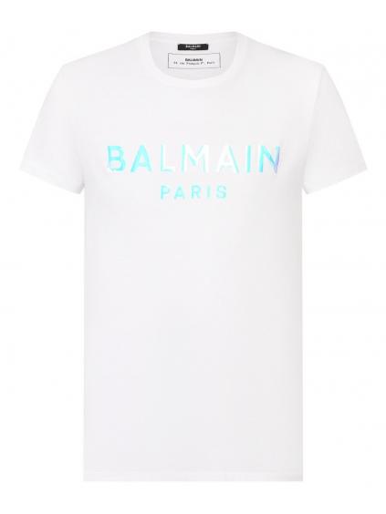 balmain paris logo white tricko panske (1)