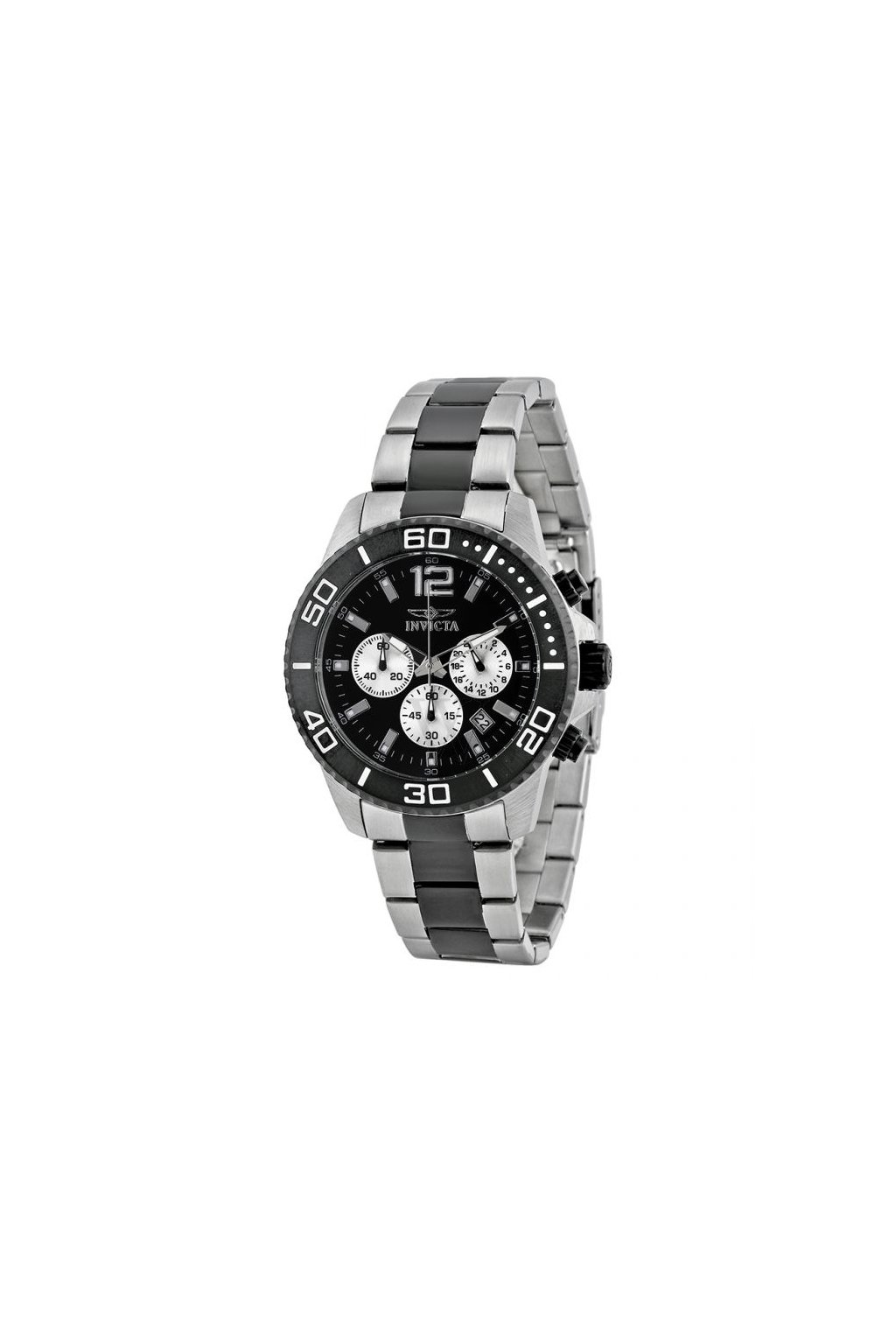 mens pro diver chrono twotone stainless steel black dial 17401