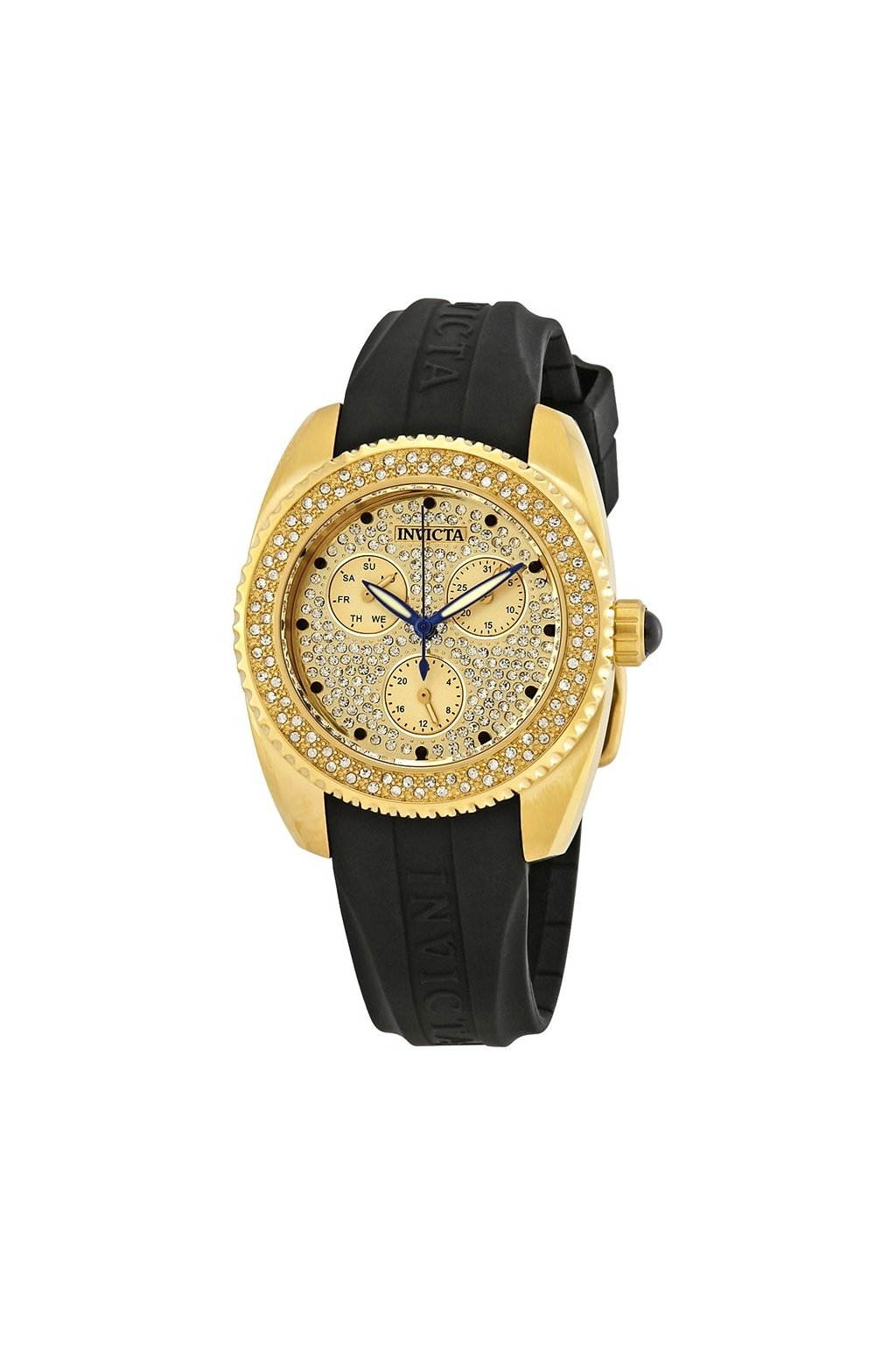 invicta angel crystal gold dial ladies watch 28485
