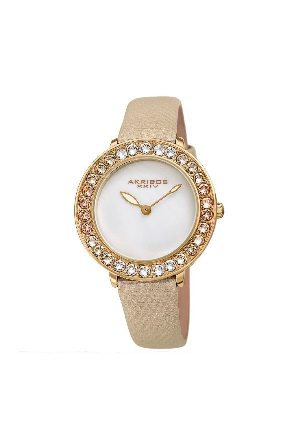 akribos xxiv quartz white dial ladies watch ak1093yg