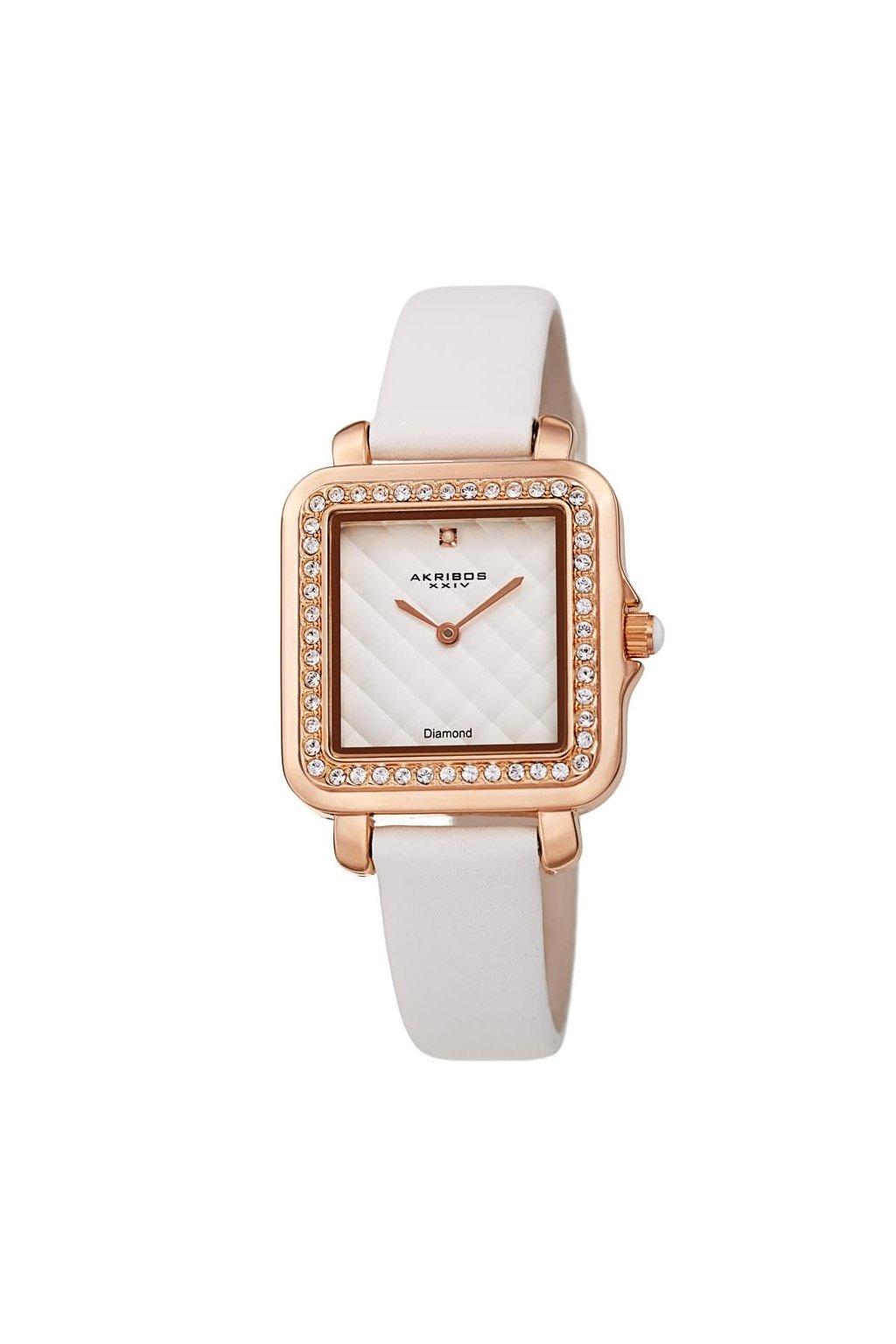 akribos xxiv quartz diamond white dial ladies watch ak1106wt
