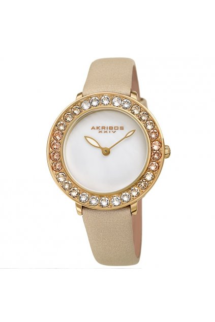 akribos xxiv quartz white dial ladies watch ak1093yg
