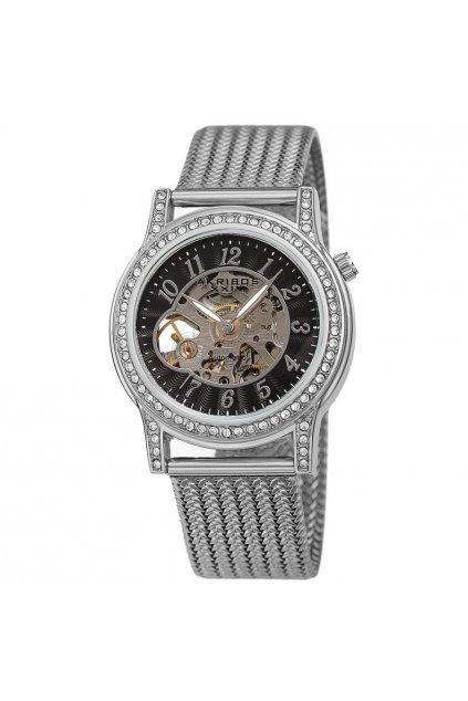 akribos xxiv automatic black dial ladies watch ak1117ssb