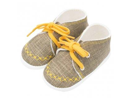 Dojčenské capačky tenisky New Baby jeans mustard
