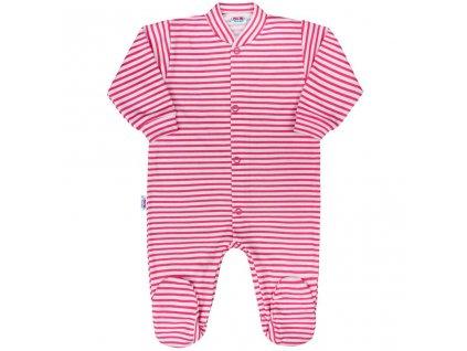 Dojčenský overal New Baby Classic II s ružovými pruhmi