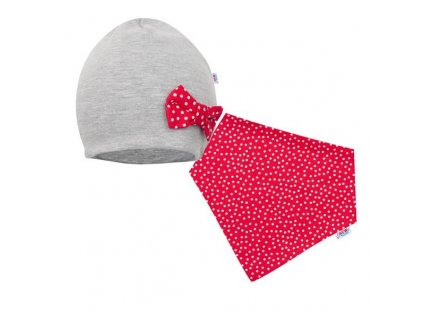 Dojčenská čiapočka s šatkou na krk New Baby Missy sivo-červená