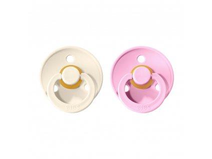 BIBS cumlíky Colour z prírodného kaučuku veľkosť 3 Ivory - Baby Pink