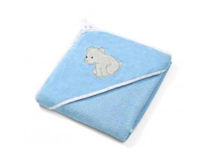 BabyOno velúrová osuška s kapucou 100 x 100 cm modrá