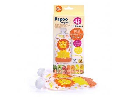 Vrecúško na jedlo Petite&Mars Papoo Original Lion 6 ks