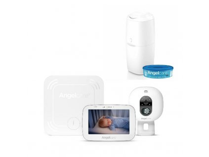 Monitor dychu Angelcare AC527 a video pestúnka + kôš na plienky Classic + 1 kazeta