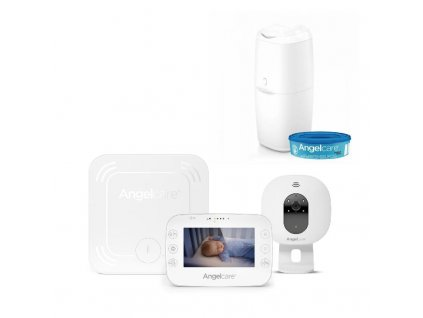 Monitor dychu a video pestúnka Angelcare AC327 + kôš na plienky Classic + 1 kazeta
