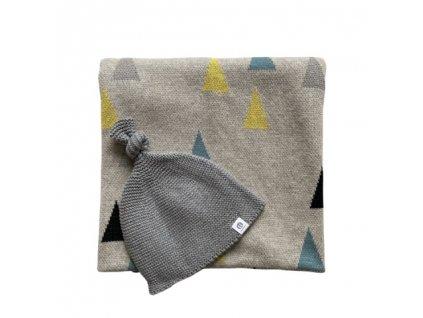 Deka Petite&Mars Harmony Happy Triangles 80 x 100 cm + Čiapka Huggy Grey