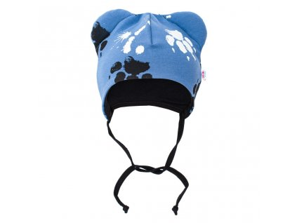 Dojčenská bavlnená čiapka s uškami New Baby Paw modrá