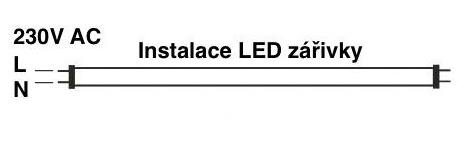 Zapojení LED zářivky z jedné strany
