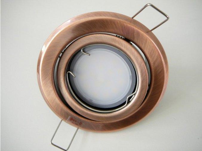 LED bodové světlo do sádrokartonu 3W antik - měď 12V výklopné (Barva světla Studená bílá)