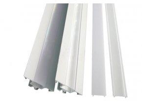 Hliníkový profil pro LED pásky rohový R1 (Vyberte variantu a délku Profil + Matný kryt 2m)