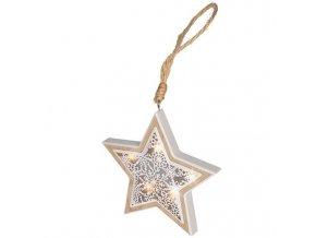 LED vianočná hviezda s dreveným dekorom