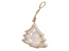 LED vianočný stromček s dreveným dekorom